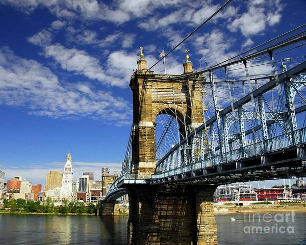 Cityscapes Poster featuring the photograph The Suspension Bridge by Mel Steinhauer
