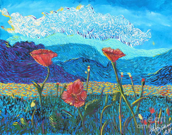 Flowers Poster featuring the painting The Three Poppies by Stefan Duncan
