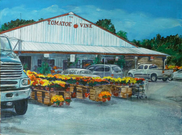 Vegetable Stand Poster featuring the painting The Tomatoe Vine by Bryan Bustard