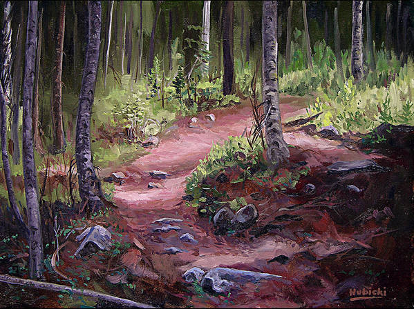 Art Poster featuring the painting The Trail Series - Sunlight In The Wood by Frederick Hubicki