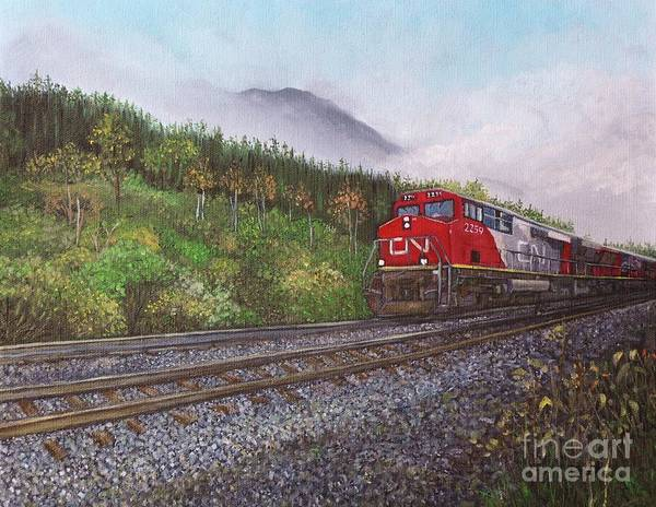 Trains Poster featuring the painting The Train West by Reb Frost