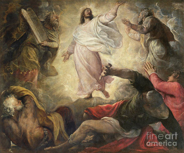Religious Poster featuring the painting The Transfiguration Of Christ by Titian