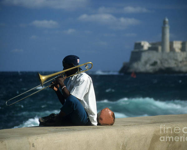 Cuba Poster featuring the photograph The Trombonist by James Brunker