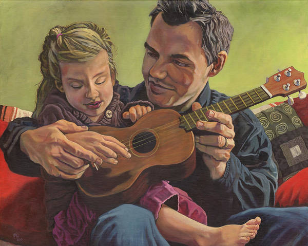 Family Poster featuring the painting The Ukelele Lesson by Paige Wallis