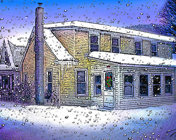 Vermont Poster featuring the digital art The Vermont Homestead by Nancy Griswold