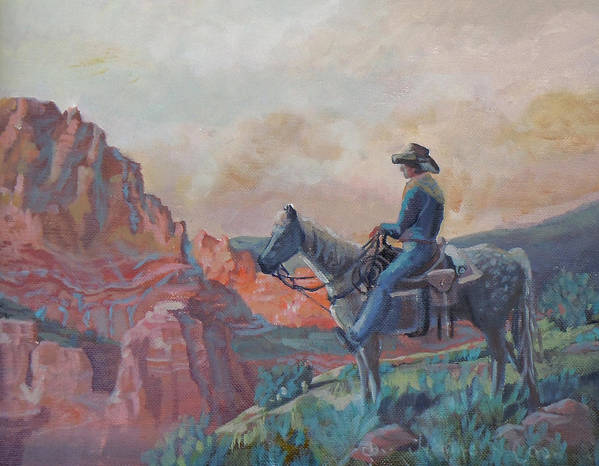 Cowboy Poster featuring the photograph The View by Heather Coen