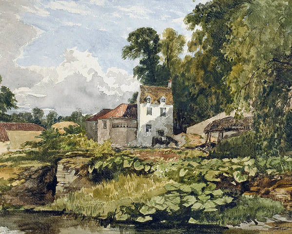 White; House; White House; Remote; Countryside; Rural; Lake; River; Riverbank; Pond; Green; Lush; Spring; Summer; Sunshine; Idyllic; Loose; Handling; English; British; Poster featuring the painting The White House by William James Muller