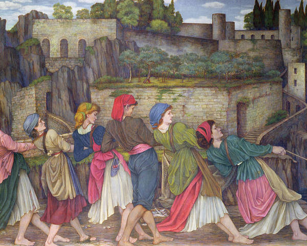 William Poster featuring the painting The Women Of Sorrento by John Roddam Spencer Stanhope