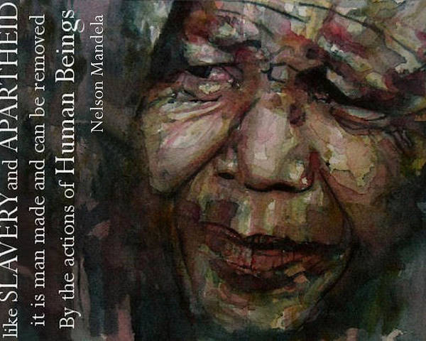 Nelson Mandela Poster featuring the painting The World Holds It's Breathe by Paul Lovering