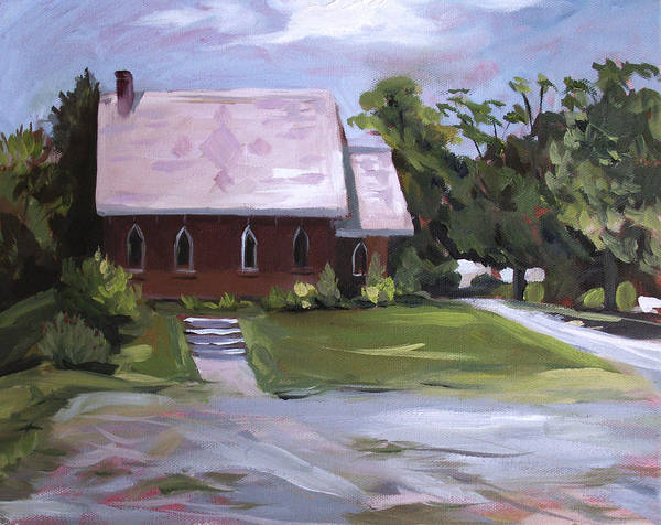 Churches Poster featuring the painting The Wyben Union Church by Nancy Griswold
