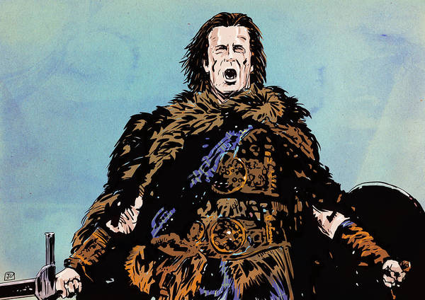 Highlander Poster featuring the drawing There Can Be Only One by Giuseppe Cristiano