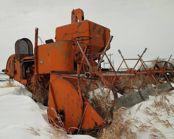 Tractors Poster featuring the photograph Thrashing The Snow by Jeff Swan