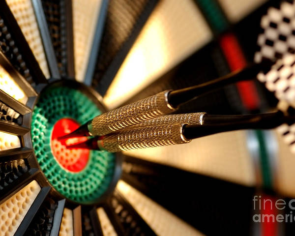 Accurate Poster featuring the photograph Three Arrows In The Centre Of A Dart Board by Michal Bednarek