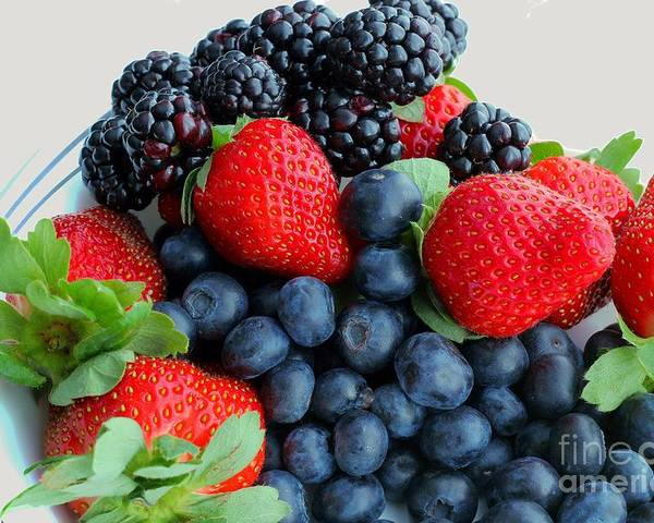 Three Fruit Strawberries Blueberries Blackberries Poster featuring the photograph Three Fruit 2 - Strawberries - Blueberries - Blackberries by Barbara Griffin