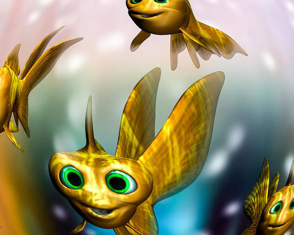 Three Little Fishies And A Mama Fishie Too Poster featuring the digital art Three Little Fishies And A Mama Fishie Too by Bob Orsillo