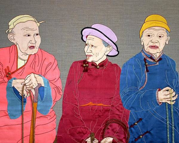 Textile Poster featuring the mixed media Three Mongolians by Leslie Rinchen-Wongmo