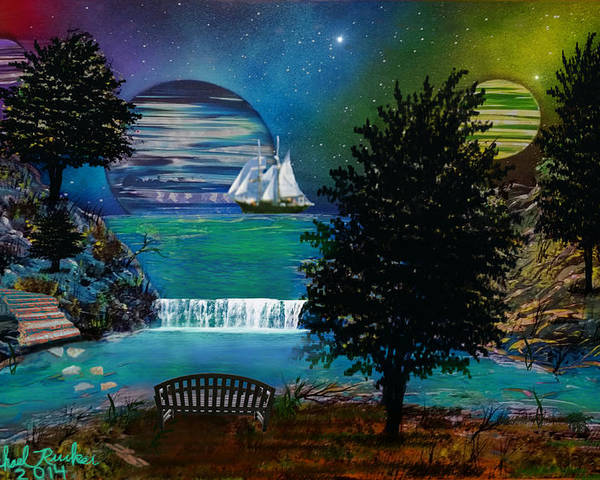 Meadow Poster featuring the painting Three Moons by Michael Rucker