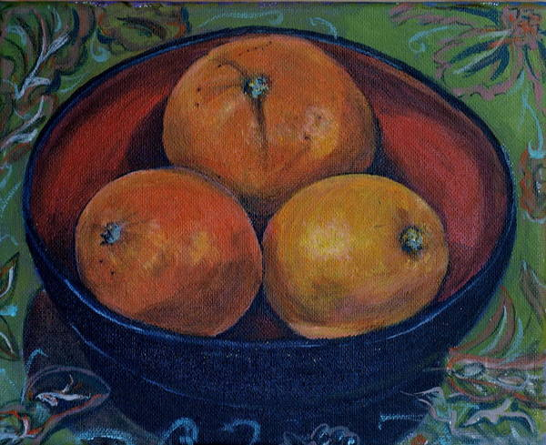 Three Oranges Poster featuring the painting Three Oranges by Vera Lysenko