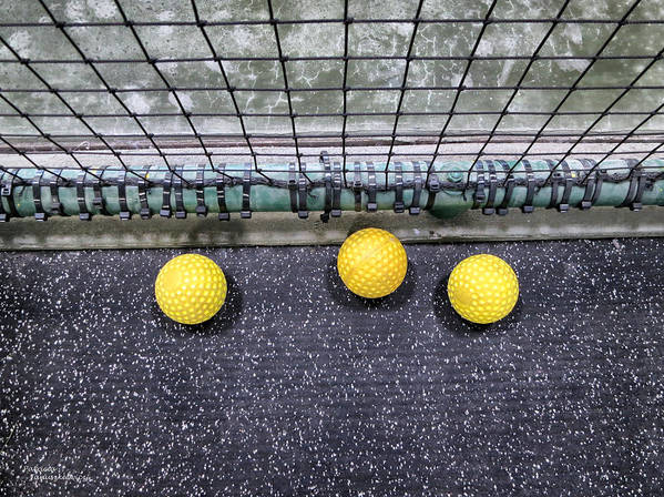 Yellow Poster featuring the photograph Three Yellow Balls by Patricia Januszkiewicz
