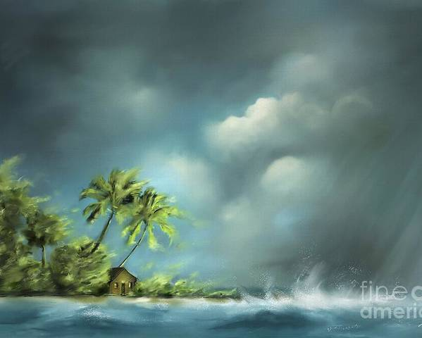 Beach Poster featuring the painting Thunderstorm At Jupiter Beach by Artist ForYou