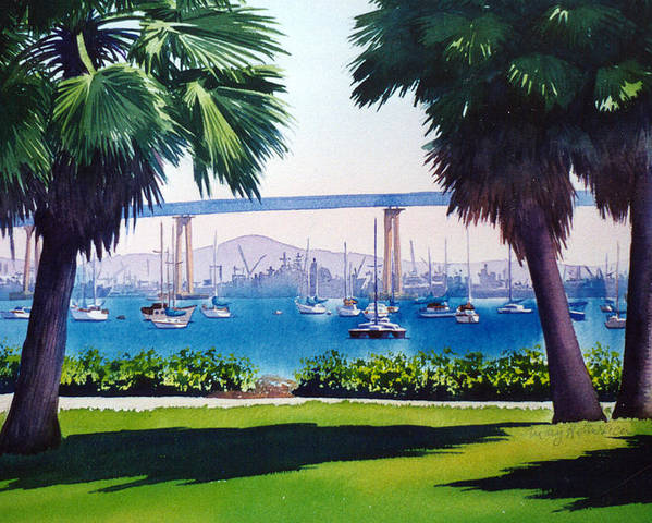 Tide Land Poster featuring the painting Tide Lands Park Coronado by Mary Helmreich