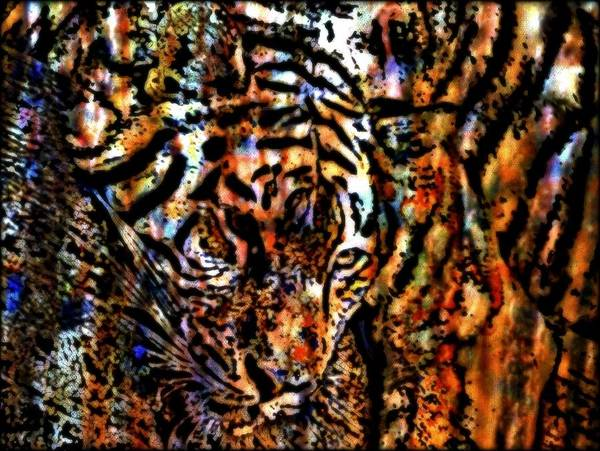 Big Cat Poster featuring the mixed media Tiger Aloft by Wendie Busig-Kohn