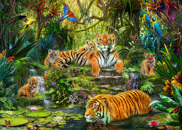 Waterfall Poster featuring the photograph Tiger Family At The Pool by Jan Patrik Krasny