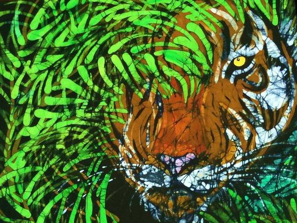 Bengal Tiger Poster featuring the tapestry - textile Tiger In Bamboo by Kay Shaffer