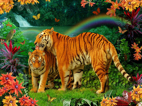 Alixandra Mullins Poster featuring the photograph Tiger Love Tropical by Alixandra Mullins