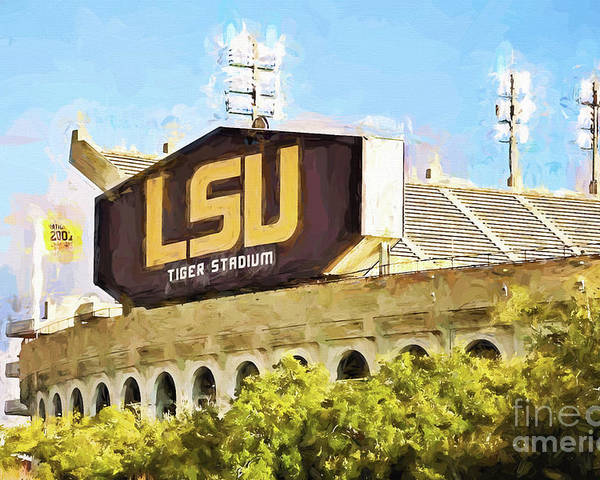 Lsu Poster featuring the photograph Tiger Stadium - Bw by Scott Pellegrin