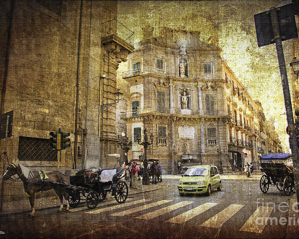 Palermo Poster featuring the photograph Time Traveling In Palermo - Sicily by Madeline Ellis