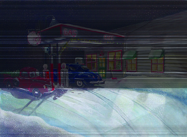 Rick Huotari Poster featuring the painting Times Past Gas Station by Rick Huotari