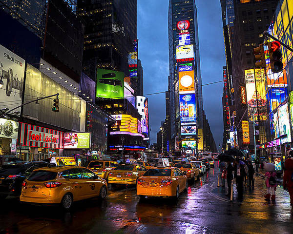 Times Square Poster featuring the photograph Times Square In The Rain by Garry Gay