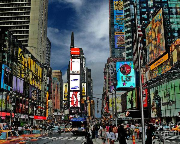 New York City Poster featuring the photograph Times Square by Jeff Breiman