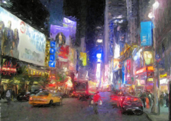 City Poster featuring the digital art Times Square Street Level by Bud Anderson