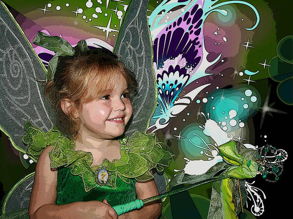 Tinkerbell Poster featuring the mixed media Tinkerbell by Ellen Henneke