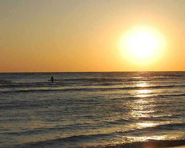 Sunset Poster featuring the photograph Tiny Surfer by May Photography