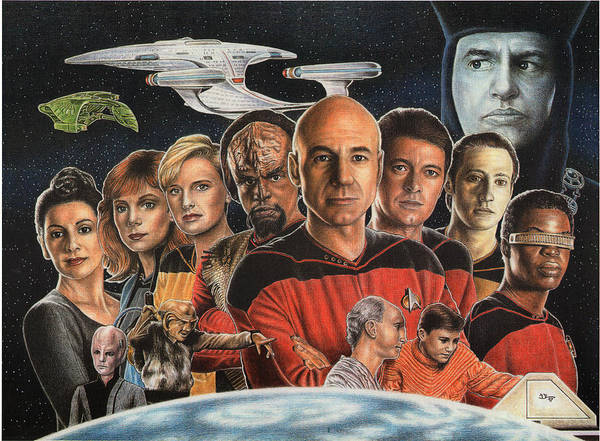 Trek Poster featuring the drawing Tng Crew Season 1 by Jonathan W Brown