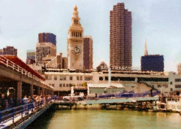 To San Francisco From Sausalito Passing Alcatraz By Ferry_painting Poster featuring the digital art To San Francisco from Sausalito passing Alcatraz by Ferry_Painting by Asbjorn Lonvig