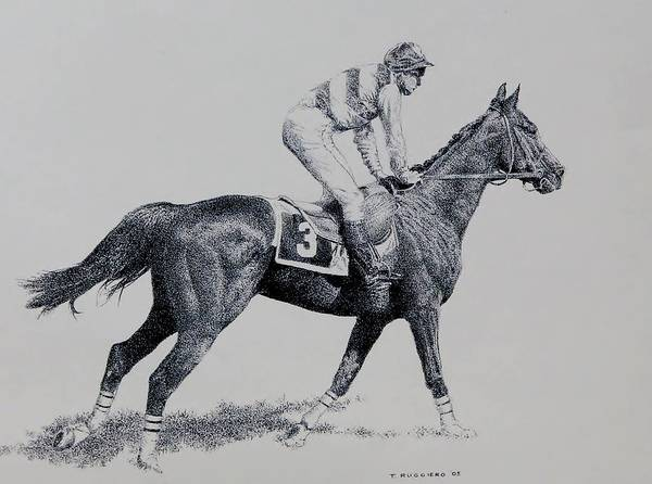 Racehorse Horse Horseracing Thorobreds Jockey Poster featuring the drawing To The Gate by Tony Ruggiero