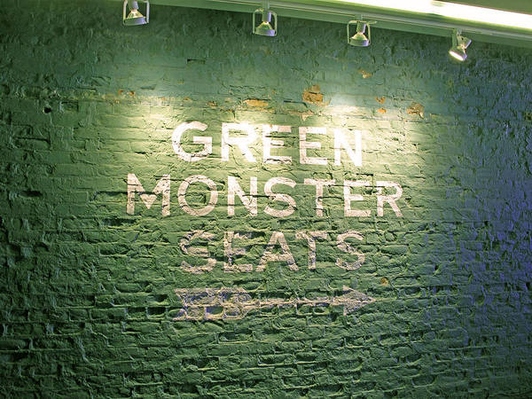 Sign Poster featuring the photograph To The Green Monster Seats by Barbara McDevitt