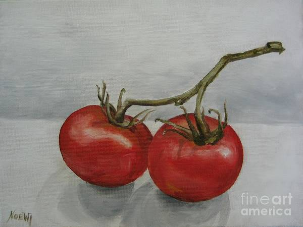 Oil Poster featuring the painting Tomatoes On Vine by Jindra Noewi