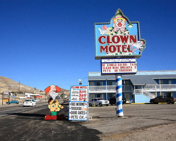 America Poster featuring the photograph Tonopah Nevada - Clown Motel by Frank Romeo