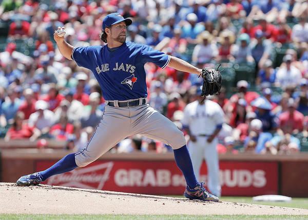 American League Baseball Poster featuring the photograph Toronto Blue Jays V Texas Rangers by Brandon Wade