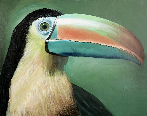 Wildlife Poster featuring the painting Toucan Portrait by Peter Bonk