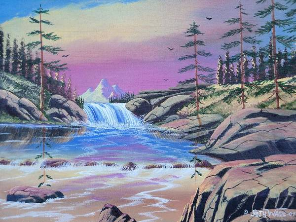 Waterfall At Sunset Poster featuring the painting Toward The Sunset by Seth Wade
