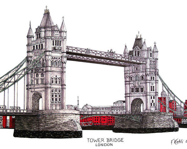 Ink Drawings Poster featuring the drawing Tower Bridge - London by Frederic Kohli