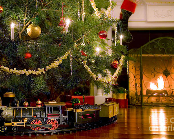 Christmas Tree Train.Toy Train Under The Christmas Tree Poster