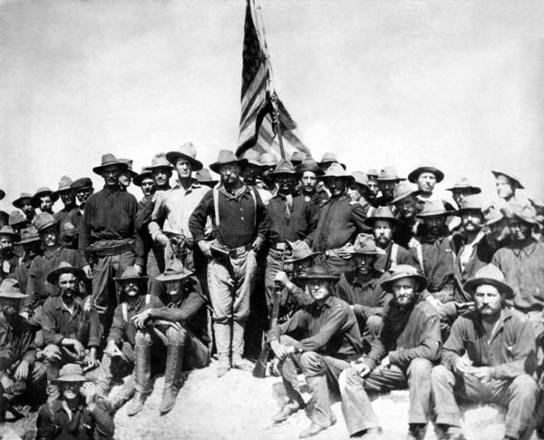 Teddy Roosevelt Poster featuring the photograph Tr And The Rough Riders by War Is Hell Store