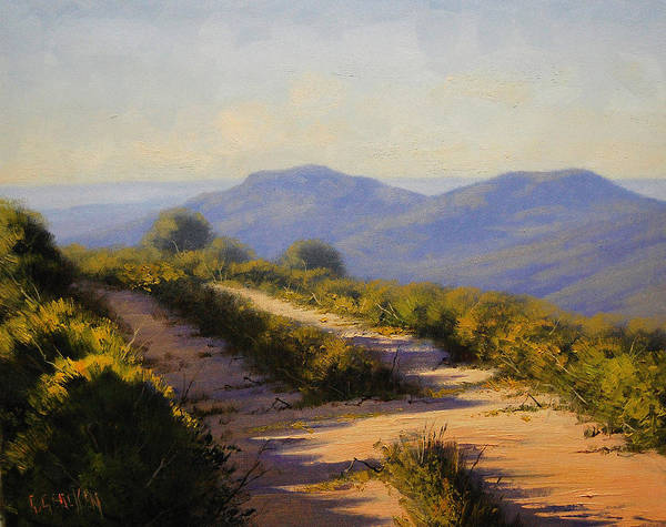 Megalong Poster featuring the painting Track Along Walls Ledge Blackheath by Graham Gercken